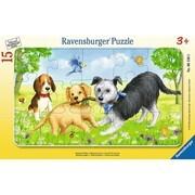 Ravensburger Puzzle - Rahmenpuzzle - Spielende Welpen, 15 Teile