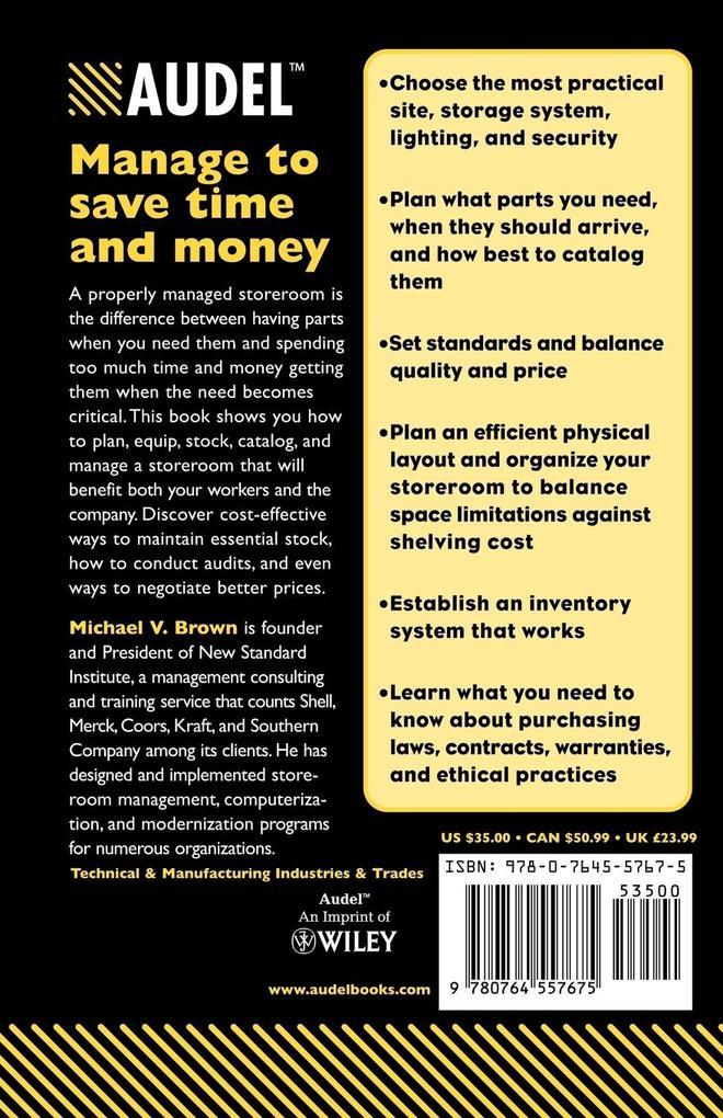 Audel Managing Maintenance Storerooms als Taschenbuch