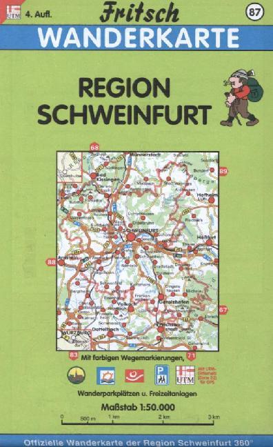 Region Schweinfurt 1 : 50 000. Fritsch Wanderkarte als Buch