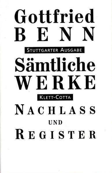 Sämtliche Werke - Stuttgarter Ausgabe / Entwürfe, Vorfassungen und Notizen 1932-1956 und das Register als Buch