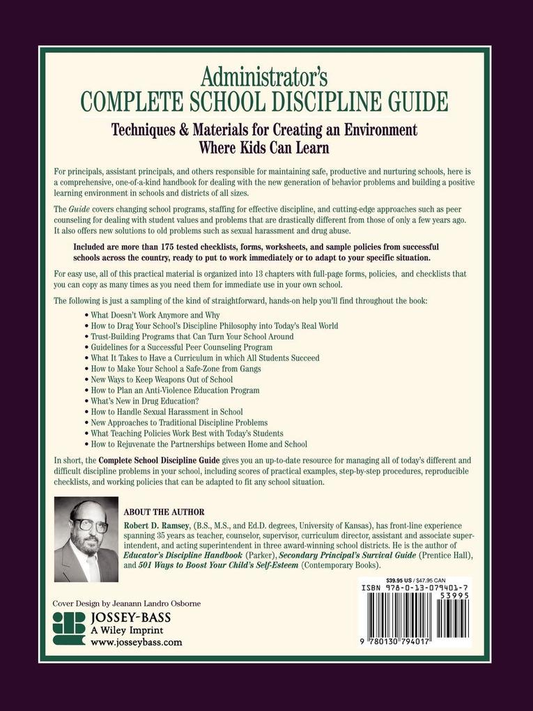 Administrator's Complete School Discipline Guide: Techniques & Materials for Creating an Environment Where Kids Can Learn als Taschenbuch