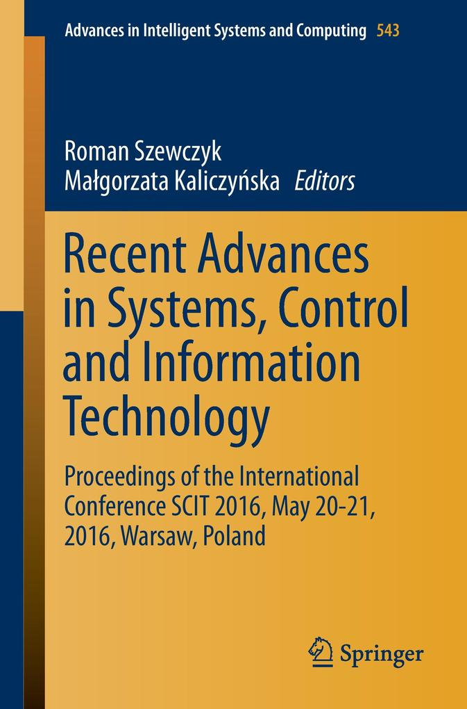Recent Advances in Systems, Control and Information Technology als Buch (kartoniert)