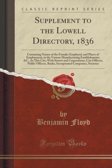 Supplement to the Lowell Directory, 1836 als Ta...