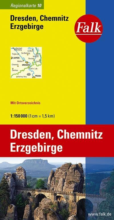 Falk Regionalkarte 10. Dresden, Chemnitz, Erzge...