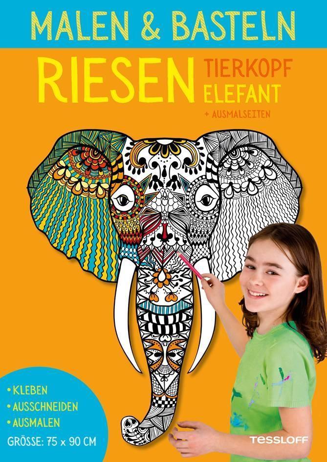 Malen & Basteln. RIESEN Tierkopf Elefant als Bu...