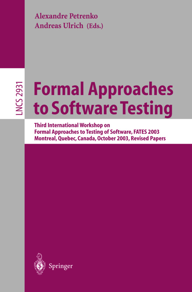Formal Approaches to Software Testing als Buch