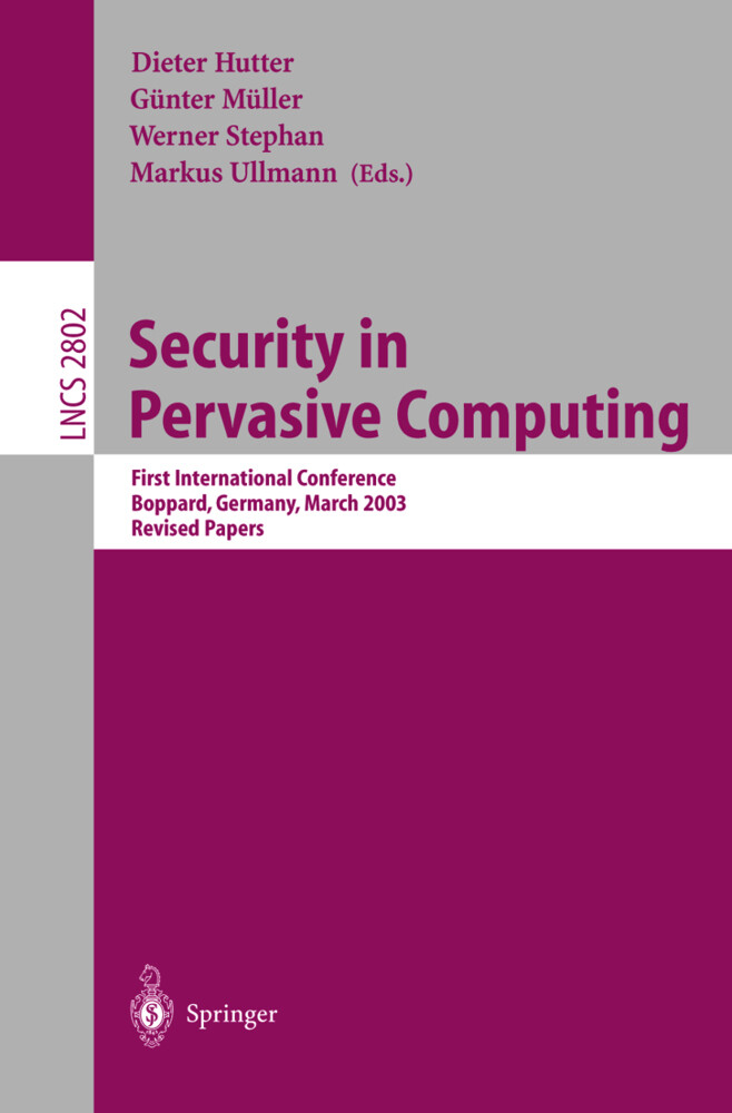 Security in Pervasive Computing als Buch