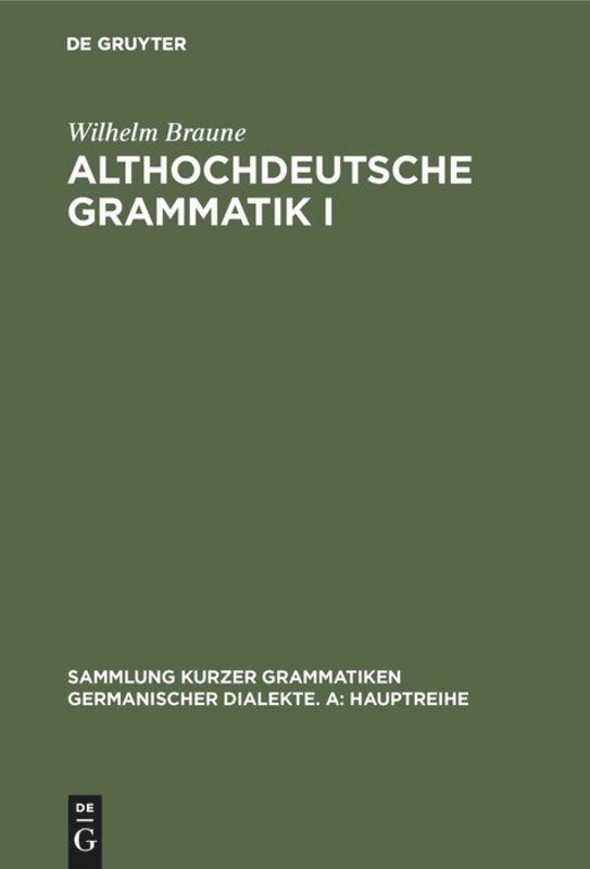 Althochdeutsche Grammatik 01 als Buch