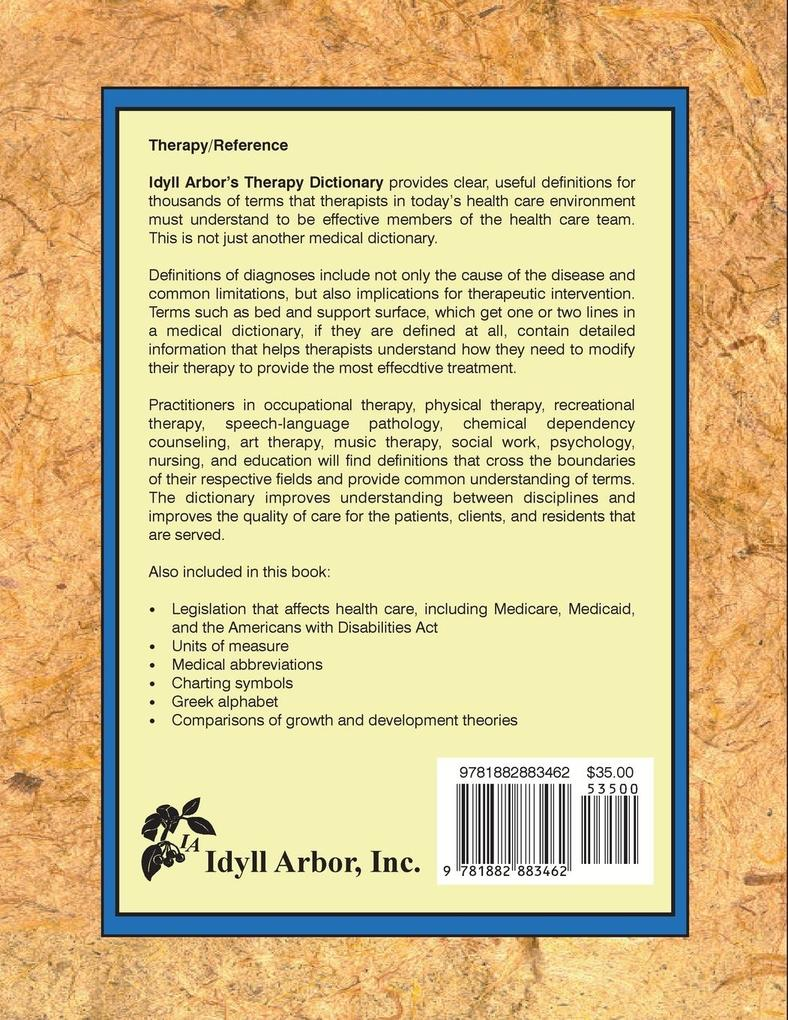 Idyll Arbor's Therapy Dictionary als Taschenbuch