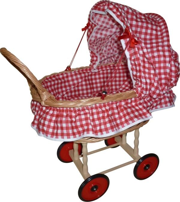 Puppenwagen aus Korb mit Garnitur