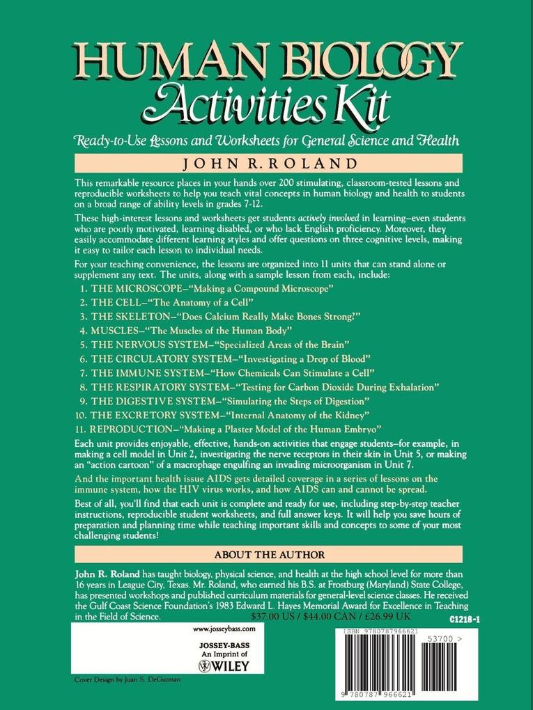Human Biology Activities Kit: Ready-To-Use Lessons and Worksheets for General Science and Health als Taschenbuch