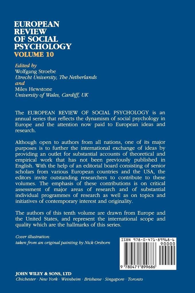 European Review of Social Psychology, Volume 10 als Taschenbuch