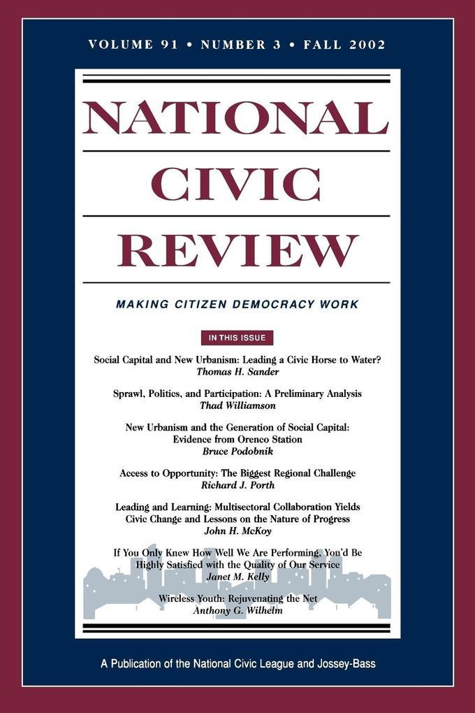 National Civic Review V91 3 Fa als Taschenbuch