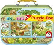 Medizini, Die vier Jahreszeiten, Puzzle-Box. 2 x 26, 2 x 48 Teile im Metallkoffer