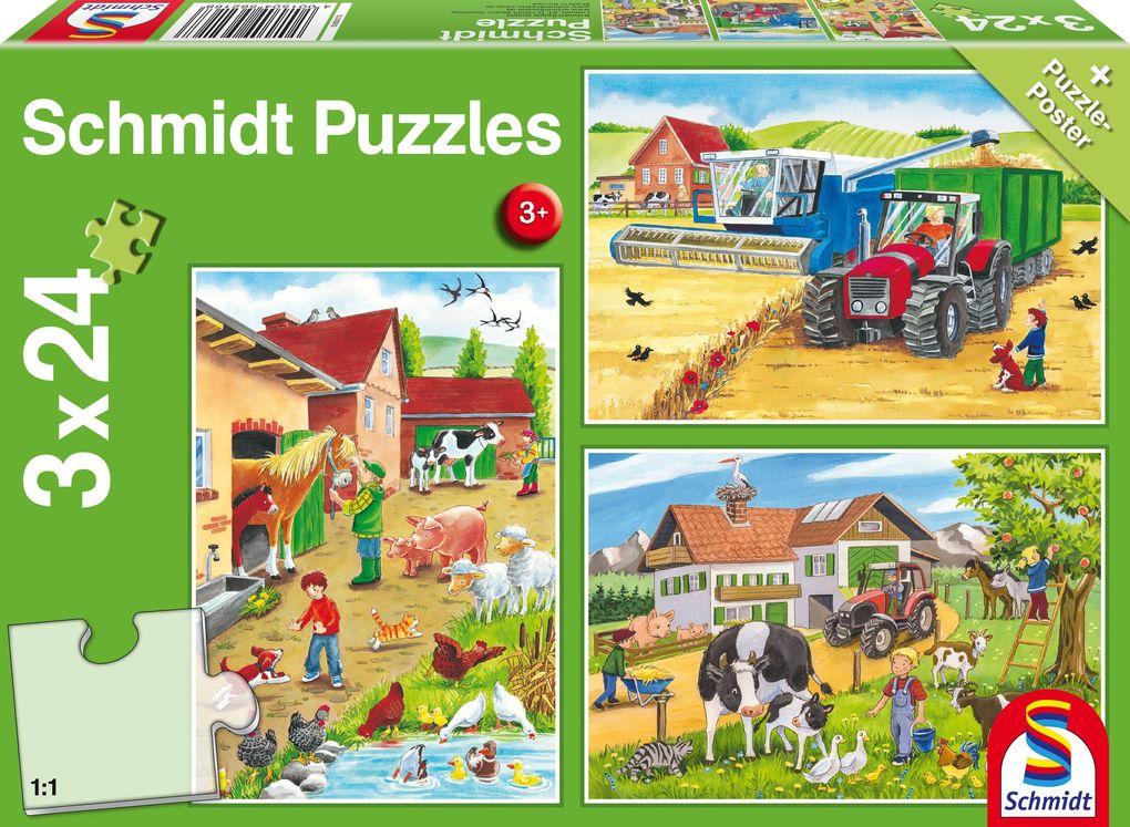 Auf dem Bauernhof. 3 x 24 Teile Puzzle als sonstige Artikel