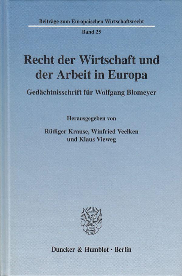 Recht der Wirtschaft und der Arbeit in Europa a...