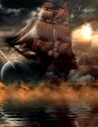 Fantasy Notizbuch: Wolkenschiff - weiße Seiten mit Eckmotiv