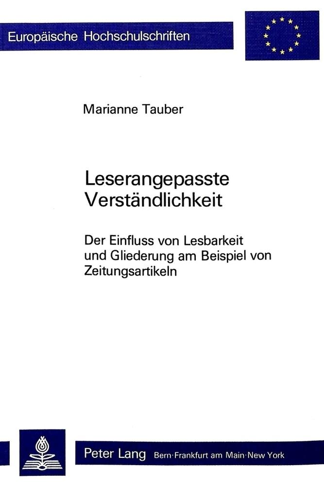 Leserangepasste Verständlichkeit als Buch von M...