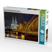 Dom und Hohenzollernbrücke bei Nacht 1000 Teile Puzzle quer