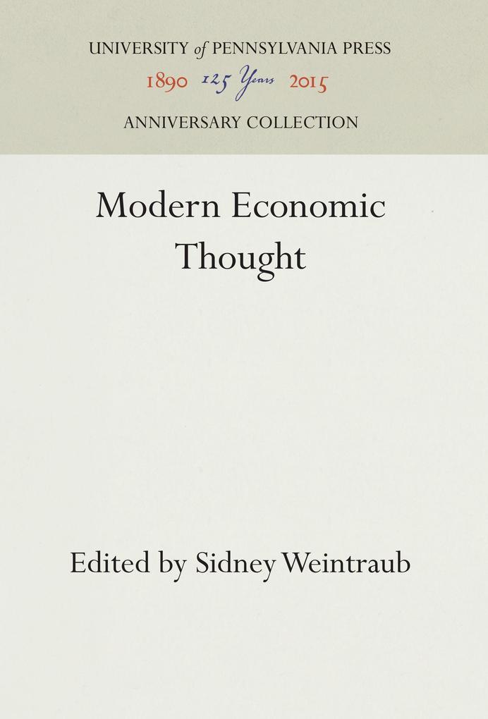 Modern Economic Thought als Buch von