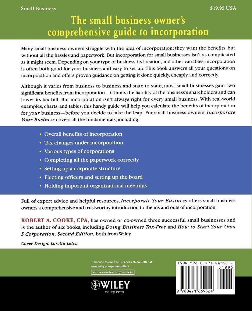 Incorporate Your Business als Taschenbuch von C...