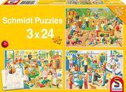 Ein Tag im Kindergarten. 3 x 24 Teile Puzzle
