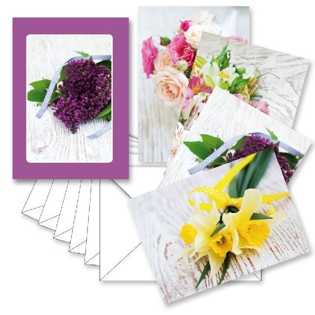 Kartenbox hard - Blumen auf Holz