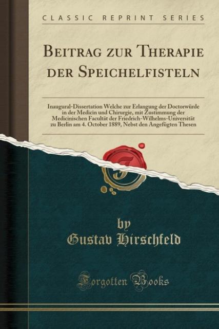 Beitrag zur Therapie der Speichelfisteln als Taschenbuch von Gustav Hirschfeld
