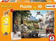 Die Tiere des Waldes, 40 Teile - Kinderpuzzle Schleich (+Zusatz)