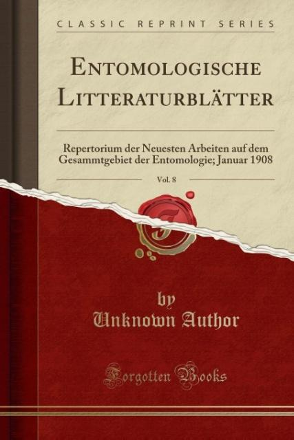 Entomologische Litteraturblätter, Vol. 8 als Ta...