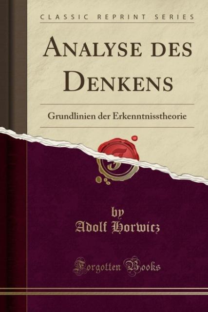 Analyse des Denkens als Taschenbuch von Adolf H...