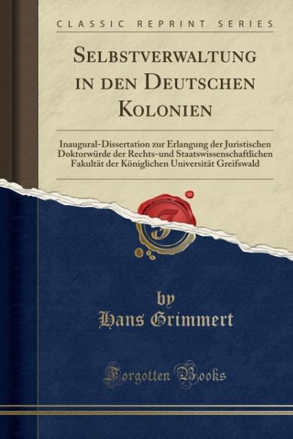 Selbstverwaltung in den Deutschen Kolonien als ...