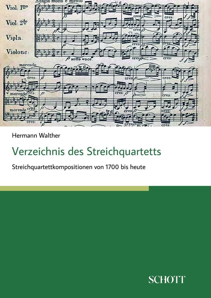 Verzeichnis des Streichquartetts als Buch von H...
