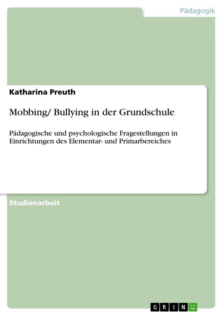 Mobbing/ Bullying in der Grundschule als eBook ...