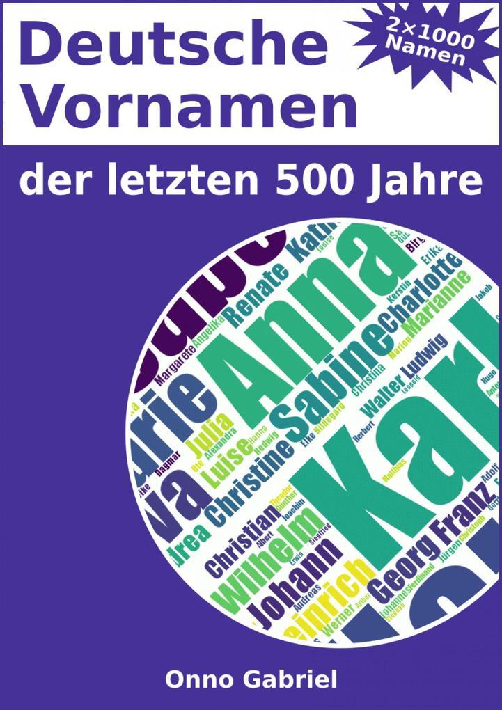 Deutsche Vornamen der letzten 500 Jahre als eBook epub