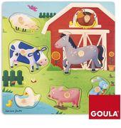 Goula Holzpuzzle Tiermütter und -kinder auf dem Bauernhof 7teilig