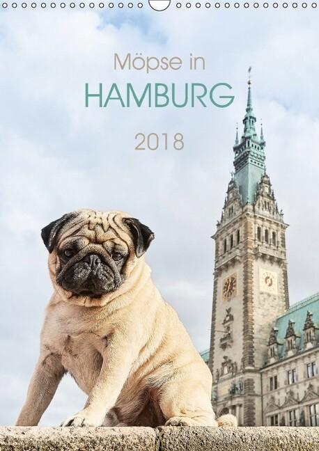 Möpse in Hamburg (Wandkalender 2018 DIN A3 hoch) als Kalender