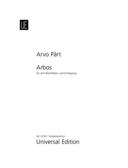Arbos als Buch von Arvo Pärt