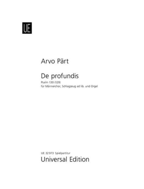 De profundis als Buch von Arvo Pärt