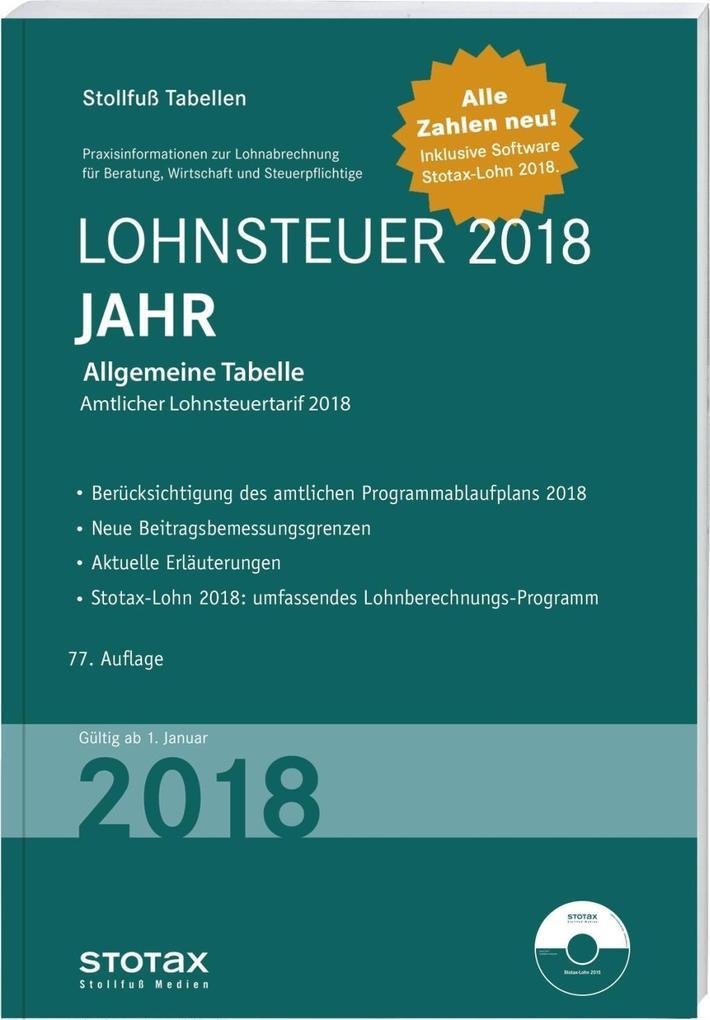 Tabelle, Lohnsteuer 2018 Jahr als Buch von
