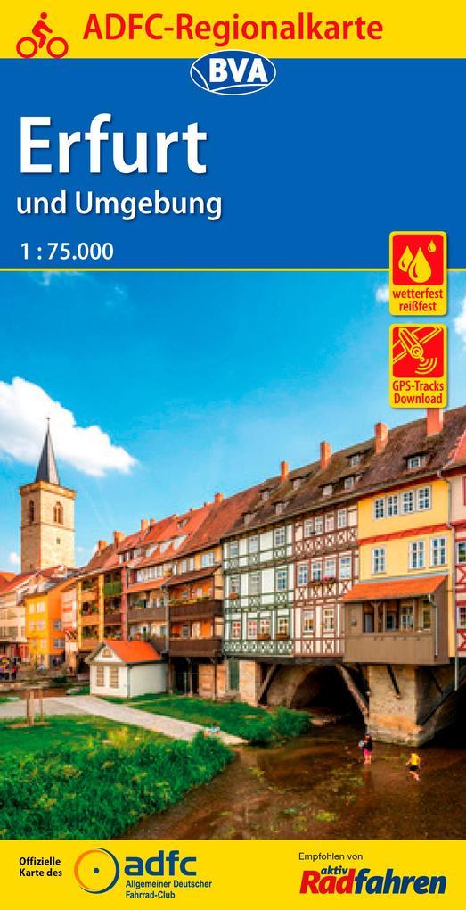 ADFC-Regionalkarte Erfurt und Umgebung, 1:75.00...