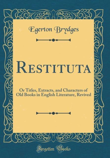 Restituta als Buch von Egerton Brydges
