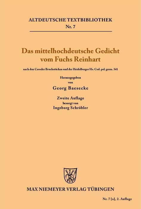 Das mittelhochdeutsche Gedicht vom Fuchs Reinha...