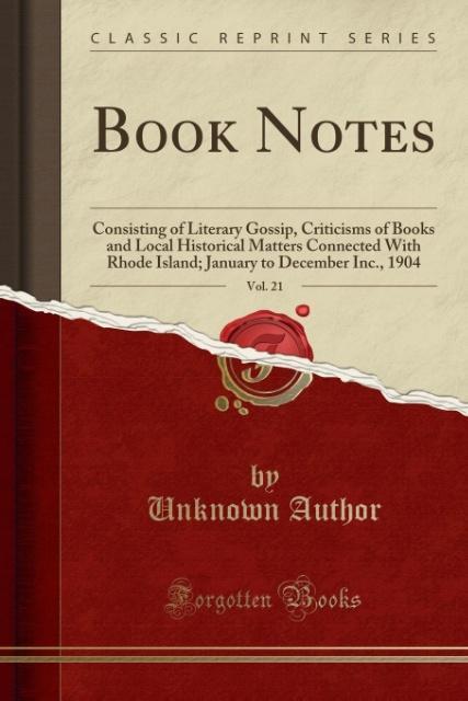 Book Notes, Vol. 21 als Taschenbuch von Unknown...