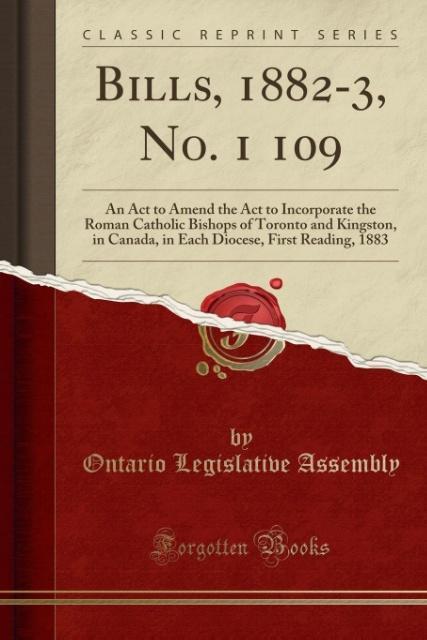 Bills, 1882-3, No. 1 109 als Taschenbuch von On...