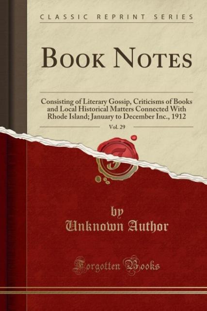 Book Notes, Vol. 29 als Taschenbuch von Unknown...