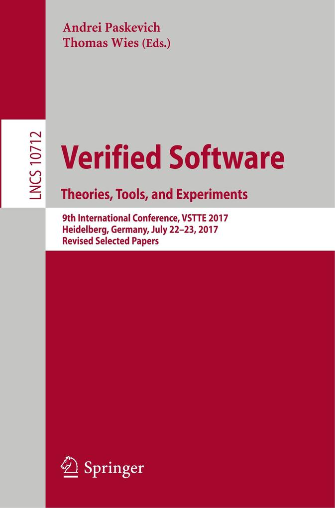 Verified Software. Theories, Tools, and Experim...