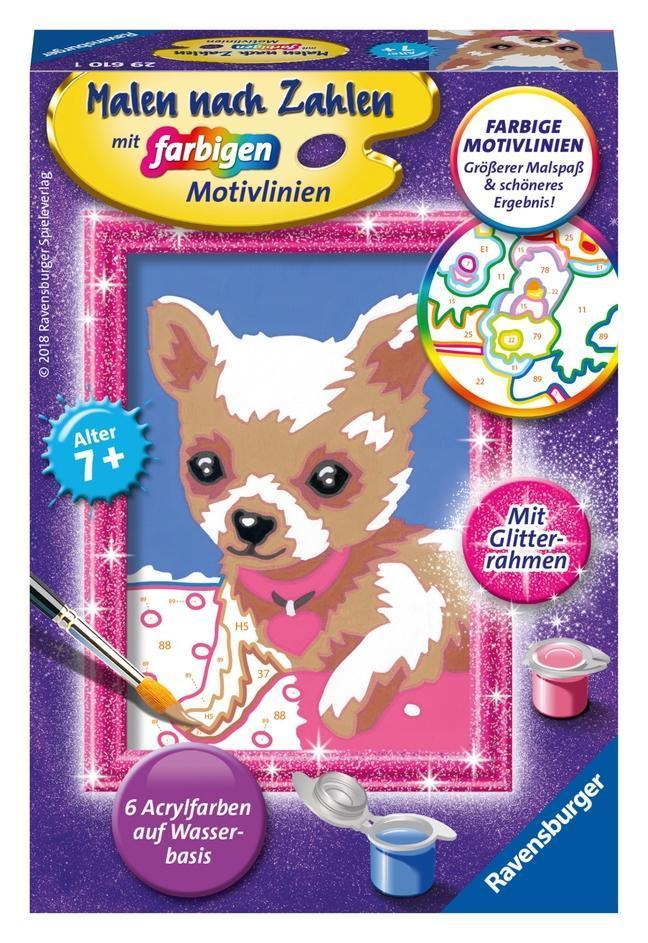Chihuahua. Malen nach Zahlen Serie F Glitter
