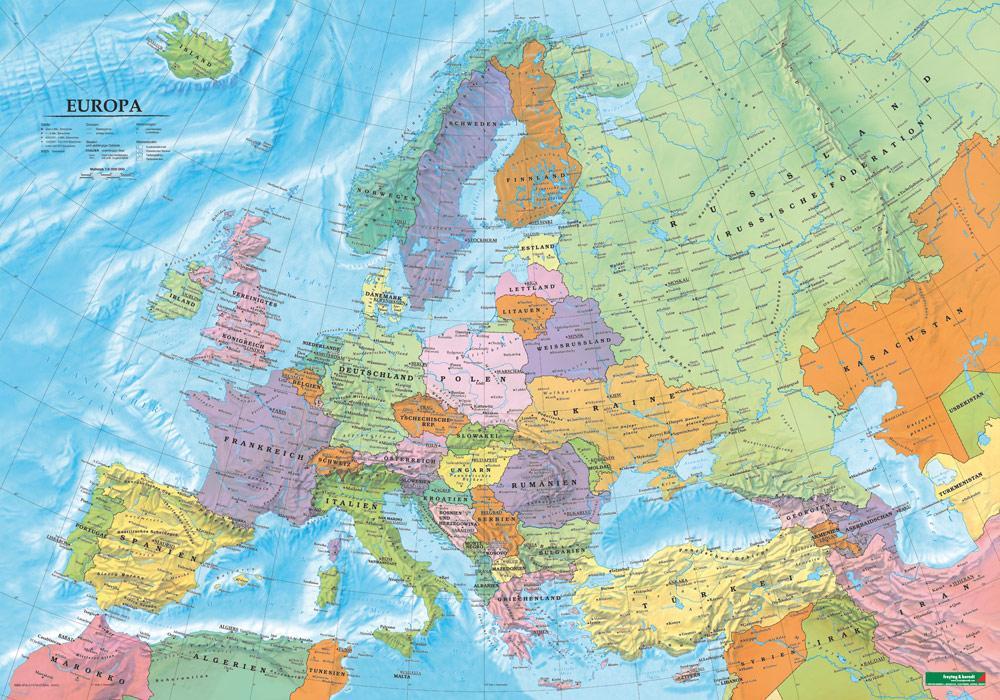 Europa politisch, Poster 1:6 000 000 Metallbest...