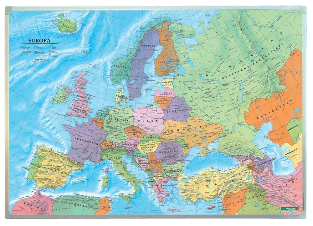 Europa politisch, Wandkarte 1:6 000 000 Markier...